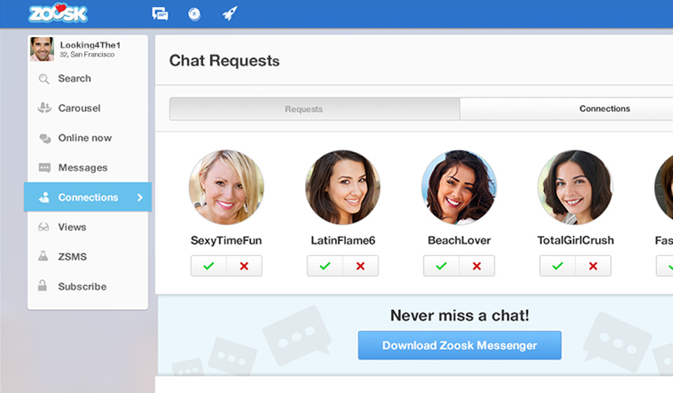 Zoosk messages disappear